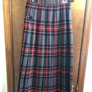 Pendleton Vtg Red Grey Plaid Skirt Size 10